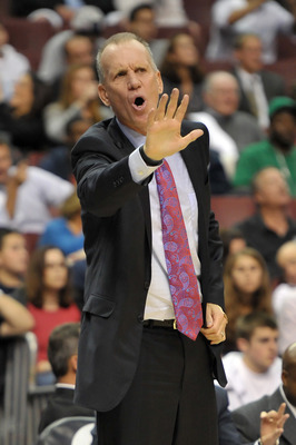 PHILADELPHIA - OCTOBER 27:  Head coach Doug Collins of the Philadelphia 76ers yells from the bench area during the game against the Miami Heat at the Wells Fargo Center on October 27, 2010 in Philadelphia, Pennsylvania. NOTE TO USER: User expressly acknow