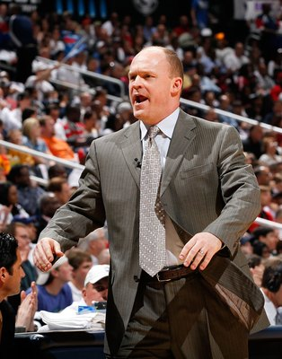 ATLANTA - APRIL 28:  Head coach Scott Skiles of the Milwaukee Bucks against the Atlanta Hawks during Game Five of the Eastern Conference Quarterfinals of the 2010 NBA Playoffs at Philips Arena on April 28, 2010 in Atlanta, Georgia.  NOTE TO USER: User exp