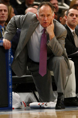 NEW YORK - JANUARY 03: Head coach Jim O'Brien of the Indiana Pacers watches on from the bench against the New York Knicks at Madison Square Garden January 3, 2010 in New York City. NOTE TO USER: User expressly acknowledges and agrees that, by downloading