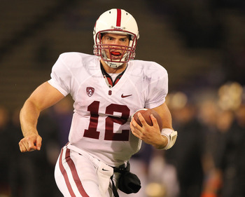 SEATTLE - OCTOBER 30:  Quarterback Andrew Luck #12 of the Stanford Cardinal rushes against the Washington Huskies on October 30, 2010 at Husky Stadium in Seattle, Washington. Stanford defeated Washington 41-0. (Photo by Otto Greule Jr/Getty Images)