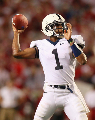 TUSCALOOSA, AL - SEPTEMBER 11:  Quarterback Robert Bolden #1 of the Penn State Nittany Lions against the Alabama Crimson Tide at Bryant-Denny Stadium on September 11, 2010 in Tuscaloosa, Alabama.  (Photo by Kevin C. Cox/Getty Images)