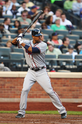 NEW YORK - SEPTEMBER 18:  Derek Lee #27 of the Atlanta Braves in action against the New York Mets during their game on September 18, 2010 at Citi Field in the Flushing neighborhood of the Queens borough of New York City.  (Photo by Al Bello/Getty Images)