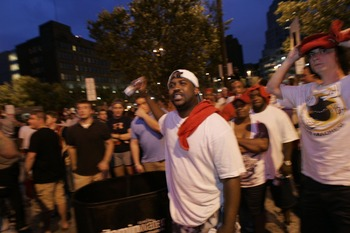 CLEVELAND - JULY 8: Fans react after listening to LeBron James announce he will play next season for the Miami Heat July 8, 2010 in Cleveland, Ohio. The two-time Most Valuable Player made the choice to play for Miami next season. (Photo by J.D. Pooley/Get