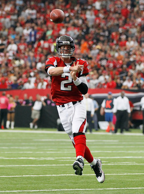 ATLANTA - OCTOBER 24:  Matt Ryan #2 of the Atlanta Falcons passes for a touchdown against the Cincinnati Bengals at Georgia Dome on October 24, 2010 in Atlanta, Georgia.  (Photo by Kevin C. Cox/Getty Images)