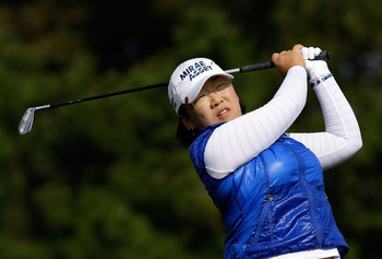 INCHEON, SOUTH KOREA - OCTOBER 31:  Shin Ji-Yai of South Korea hits a tee shot on the 3rd hole during the 2010 LPGA Hana Bank Championship at Sky 72 Golf Club on October 31, 2010 in Incheon, South Korea.  (Photo by Chung Sung-Jun/Getty Images)