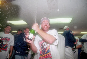 BRONX, NY - OCTOBER 26:  Wade Boggs #26 of the New York Yankees sprays champagne in victory after defeating the Atlanta Braves in Game Six of the 1996 World Series at Yankee Stadium on October 26, 1996 in the Bronx, New York.(Photo by: Al Bello/Gettyimage