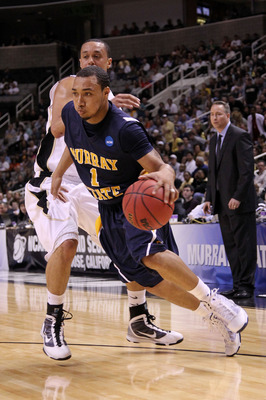 SAN JOSE, CA - MARCH 18:  Guard B.J. Jenkins #1 of the Murray State Racers drives with the ball against the Vanderbilt Commodores during the first round of the 2010 NCAA men�s basketball tournament at HP Pavilion on March 18, 2010 in San Jose, California.