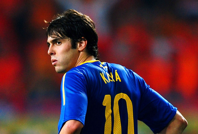 PORT ELIZABETH, SOUTH AFRICA - JULY 02:  Kaka of Brazil is dejected after being knocked out of the tournament during the 2010 FIFA World Cup South Africa Quarter Final match between Netherlands and Brazil at Nelson Mandela Bay Stadium on July 2, 2010 in N