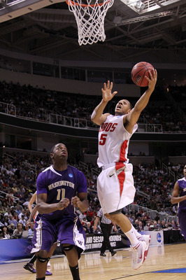 SAN JOSE, CA - MARCH 20:  Guard Dairese Gary #5 of the New Mexico Lobos goes up for a shot against the Washington Huskies in the second round of the 2010 NCAA men's basketball tournament at HP Pavilion on March 20, 2010 in San Jose, California.  (Photo by
