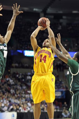 SPOKANE, WA - MARCH 21:  Sean Mosley #14 of the Maryland Terrapins takes a shot against the Michigan State Spartans during the second round of the 2010 NCAA men's basketball tournament at the Spokane Arena on March 21, 2010 in Spokane, Washington. (Photo