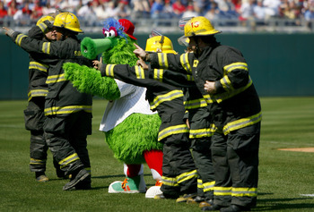 PHILADELPHIA, PA - APRIL 2:  The Phillie Fanatic entertains the crowd along with firefighters during the Atlanta Braves and Philadelphia Phillies game during a Opening Day game on April 2, 2007 at Citizens Bank Park in Philadelphia, Pennsylvania. (Photo b