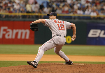 ST PETERSBURG, FL - APRIL 27:  Pitcher Josh Beckett #19 of the Boston Red Sox starts against the Tampa Bay Rays April 27, 2008 at Tropicana Field in St. Petersburg, Florida.  (Photo by Al Messerschmidt/Getty Images)
