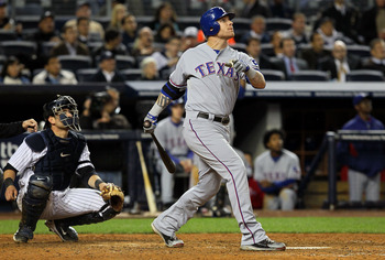 NEW YORK - OCTOBER 19:  Josh Hamilton #32 of the Texas Rangers hits a solo home run in the top of the seventh inning against the New York Yankees in Game Four of the ALCS during the 2010 MLB Playoffs at Yankee Stadium on October 19, 2010 in the Bronx boro