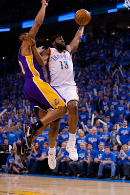 OKLAHOMA CITY - APRIL 30: James Harden #13 of the Oklahoma City Thunder goes for a lay up against the Los Angeles Lakers during Game Six of the Western Conference Quarterfinals of the 2010 NBA Playoffs on April 30, 2010 at the Ford Center in Oklahoma City