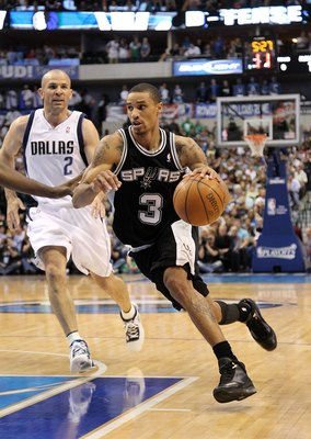 DALLAS - APRIL 27:  George Hill #3 of the San Antonio Spurs in Game Five of the Western Conference Quarterfinals during the 2010 NBA Playoffs at American Airlines Center on April 27, 2010 in Dallas, Texas. NOTE TO USER: User expressly acknowledges and agr