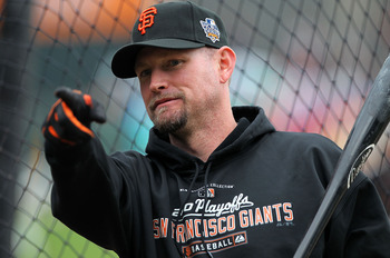 SAN FRANCISCO - OCTOBER 28:  Aubrey Huff #17 of the San Francisco Giants points during batting practice before Game Two of the 2010 MLB World Series against the Texas Rangers at AT&T Park on October 28, 2010 in San Francisco, California.  (Photo by Doug P