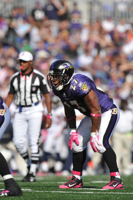 BALTIMORE, MD - OCTOBER 10: Ray Rice #27 of the Baltimore Ravens awaits the snap against the Denver Broncos at M&T Bank Stadium on October 10, 2010 in Baltimore, Maryland. Players wore pink in recognition of Breast Cancer Awareness Month. The Ravens defea
