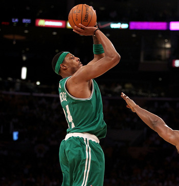 LOS ANGELES, CA - JUNE 15:  Paul Pierce #34 of the Boston Celtics shoots over Ron Artest #37 of the Los Angeles Lakers in Game Six of the 2010 NBA Finals at Staples Center on June 15, 2010 in Los Angeles, California.  NOTE TO USER: User expressly acknowle