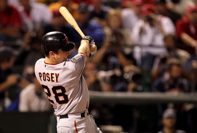 ARLINGTON, TX - NOVEMBER 01:  Buster Posey #28 of the San Francisco Giants bats against the Texas Rangers in Game Five of the 2010 MLB World Series at Rangers Ballpark in Arlington on November 1, 2010 in Arlington, Texas. The GIants won 3-1. (Photo by Ron