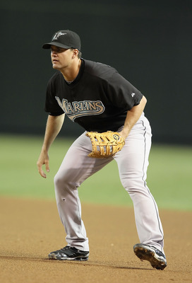 PHOENIX - JULY 08:  Infielder Gaby Sanchez #14 of the Florida Marlins in action during the Major League Baseball game against the Arizona Diamondbacks at Chase Field on July 8, 2010 in Phoenix, Arizona. The Diamondbacks defeated the Marlins 10-4.  (Photo