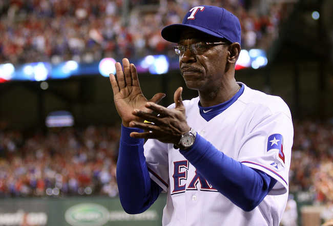 ARLINGTON, TX - OCTOBER 22:  Manager Ron Washington of the Texas Rangers claps during Game Six of the ALCS against the New York Yankees during the 2010 MLB Playoffs at Rangers Ballpark in Arlington on October 22, 2010 in Arlington, Texas.  (Photo by Elsa/