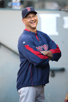SEATTLE - JULY 24:  Manager Terry Francona #47 of the Boston Red Sox smiles in the dugout prior to the game against the Seattle Mariners at Safeco Field on July 24, 2010 in Seattle, Washington. (Photo by Otto Greule Jr/Getty Images)