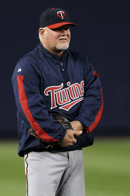 NEW YORK - OCTOBER 09:  Manager Ron Gardenhire #35 of the Minnesota Twins looks on during batting practice against the New York Yankees  during Game Three of the ALDS part of the 2010 MLB Playoffs at Yankee Stadium on October 9, 2010 in the Bronx borough