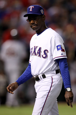 ARLINGTON, TX - OCTOBER 31:  Manager Ron Washington #38 of the Texas Rangers walks to the dugout during their game against the San Francisco Giants in Game Four of the 2010 MLB World Series at Rangers Ballpark in Arlington on October 31, 2010 in Arlington