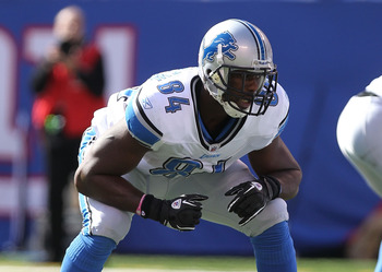 EAST RUTHERFORD, NJ - OCTOBER 17: Brandon Pettigrew #84 of the Detroit Lions at New Meadowlands Stadium on October 17, 2010 in East Rutherford, New Jersey.  (Photo by Nick Laham/Getty Images)