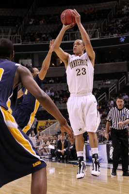 SAN JOSE, CA - MARCH 18:  Guard John Jenkins #23 of the Vanderbilt Commodores takes a shot against the Murray State Racers during the first round of the 2010 NCAA men�s basketball tournament at HP Pavilion on March 18, 2010 in San Jose, California.  (Phot