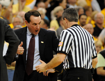 WINSTON-SALEM, NC - JANUARY 28:   Head coach Mike Krzyzewski of the Duke Blue Devils has some words with an official in the second half of the Blue Devils 70-68 loss to the Wake Forest Demon Deacons at Lawrence Joel Coliseum on January 28, 2009 in Winston