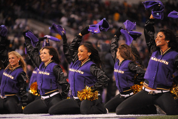 BALTIMORE, MD - DECEMBER 05:  The Baltimore Ravens cheerleaders cheer against the Pittsburgh Steelers during the second quarter of the game at M&amp;T Bank Stadium on December 5, 2010 in Baltimore, Maryland. Pittsburgh won 13-10. (Photo by Larry French/Getty