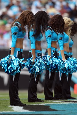 CHARLOTTE, NC - OCTOBER 24:  Cheerleaders during the San Francisco 49ers versus Carolina Panthers during their game at Bank of America Stadium on October 24, 2010 in Charlotte, North Carolina.  (Photo by Streeter Lecka/Getty Images)