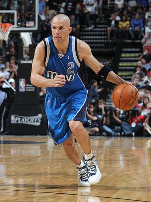 SAN ANTONIO - APRIL 25:  Jason Kidd #2 of the Dallas Mavericks in Game Four of the Western Conference Quarterfinals during the 2010 NBA Playoffs at AT&amp;T Center on April 25, 2010 in San Antonio, Texas. NOTE TO USER: User expressly acknowledges and agrees t