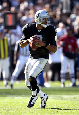 OAKLAND, CA - OCTOBER 31:  Jason Campbell #8 of the Oakland Raiders drops back to pass against the Seattle Seahawks at Oakland-Alameda County Coliseum on October 31, 2010 in Oakland, California.  (Photo by Ezra Shaw/Getty Images)