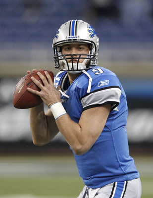 DETROIT - OCTOBER 31:  Matthew Stafford #9 of the Detroit Lions warms up prior to the start of the game against the Washington Redskins at Ford Field on October 31, 2010 in Detroit, Michigan.  (Photo by Leon Halip/Getty Images)