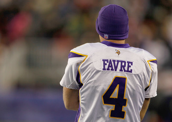 FOXBORO, MA - OCTOBER 31:  Brett Favre #4 of the Minnesota Vikings stands on the sideline in the third quarter against the New England Patriots at Gillette Stadium on October 31, 2010 in Foxboro, Massachusetts. (Photo by Jim Rogash/Getty Images)
