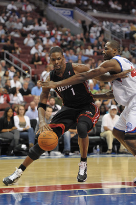 PHILADELPHIA - OCTOBER 27:  Chris Bosh #1 of the Miami Heat in action during the game against the Philadelphia 76ers at the Wells Fargo Center on October 27, 2010 in Philadelphia, Pennsylvania. NOTE TO USER: User expressly acknowledges and agrees that, by