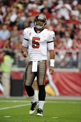 GLENDALE, AZ - OCTOBER 31:  Josh Freeman #5 of the Tampa Bay Buccaneers reacts after a play against the Arizona Cardinals at University of Phoenix Stadium on October 31, 2010 in Glendale, Arizona.  (Photo by Harry How/Getty Images)