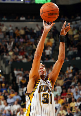 INDIANAPOLIS - MAY 19:  Reggie Miller #31 of the Indiana Pacers shoots a free throw in Game six of the Eastern Conference Semifinals during the 2005 NBA Playoffs on May 19, 2005 at Conseco Fieldhouse in Indianapolis,  Indiana. The Pistons defeated the Pac