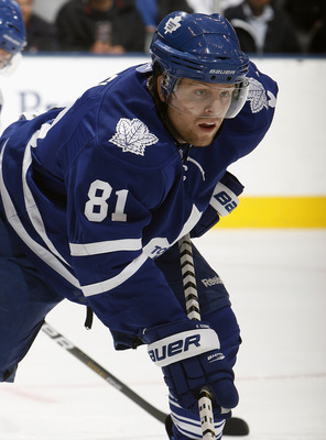 TORONTO - OCTOBER 26: Phil Kessel #81 of the Toronto Maple Leafs prepares for faceoff against the Florida Panthers during game action at the Air Canada Centre October 26, 2010 in Toronto, Ontario, Canada. The Leafs won 3-1. (Photo by Abelimages/Getty Imag