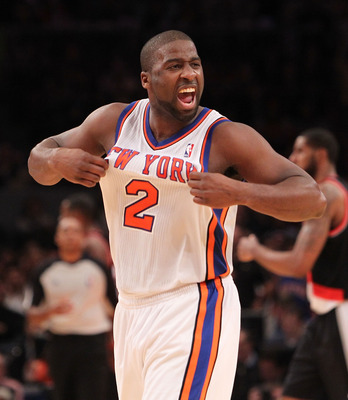 NEW YORK - OCTOBER 30:  Raymond Felton #2 of the New York Knicks celebrates a basket agaisnt the Portland Trail Blazers at Madison Square Garden on October 30, 2010 in New York City. NOTE TO USER: User expressly acknowledges and agrees that, by downloadin