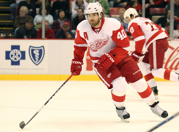 DETROIT,MI - OCTOBER 30:  Henrik Zetterberg #40 of the Detroit Red Wings skates in a game against the Nashville Predators on October 30,2010 at the Joe Louis Arena in Detroit , Michigan. The Wings defeated the Predators 5-2. (Photo by Claus Andersen/Getty