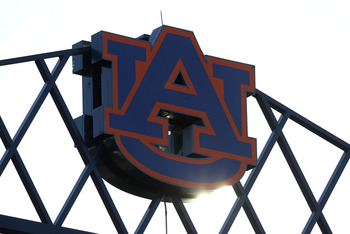 AUBURN - OCTOBER 16:  Photo of the Auburn University logo at the top of Jordan-Hare Stadium during the game between the Arkansas Razorbacks and the Auburn Tigers on October 16, 2010 in Auburn, Alabama.  (Photo by Mike Zarrilli/Getty Images)
