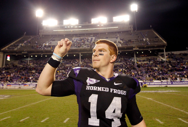 FORT WORTH, TX - OCTOBER 23:  Quarterback Andy Dalton #14 of the TCU Horned Frogs celebrates after TCU beat the Air Force Falcons 38-7 at Amon G. Carter Stadium on October 23, 2010 in Fort Worth, Texas.  (Photo by Tom Pennington/Getty Images)