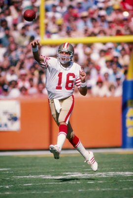 23 Oct 1983: Quarterback Joe Montana of the San Francisco 49ers passes the ball during a game against the Los Angeles Rams at Anaheim Stadium in Anaheim, California. The 49ers won the game 45-35.
