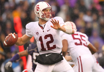 SEATTLE - OCTOBER 30:  Quarterback Andrew Luck #12 of the Stanford Cardinal passes against the Washington Huskies on October 30, 2010 at Husky Stadium in Seattle, Washington. Stanford won 41-0. (Photo by Otto Greule Jr/Getty Images)