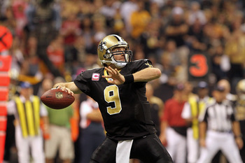 NEW ORLEANS, LA - OCTOBER 31: Drew Brees #9 of the New Orleans Saints throws the ball against the Pittsburgh Steelers at the Louisiana Superdome on October 31, 2010 in New Orleans, Louisiana. (Photo by Matthew Sharpe/Getty Images)