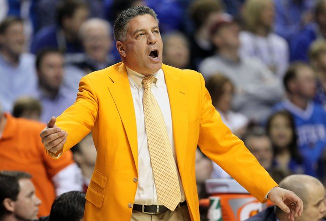 NASHVILLE, TN - MARCH 13:  Head coach Bruce Pearl of the Tennessee Volunteers reacts as he coaches against the Kentucky Wildcats during the semirfinals of the SEC Men's Basketball Tournament at the Bridgestone Arena on March 13, 2010 in Nashville, Tenness