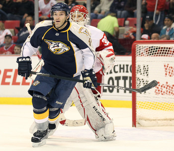 DETROIT - OCTOBER 30:  J.P. Dumont #71 of the Nashville Predators skates in a game against the Detroit Red Wings on October 30,2010 at the Joe Louis Arena in Detroit , Michigan. The Wings defeated the Predators 5-2. (Photo by Claus Andersen/Getty Images)